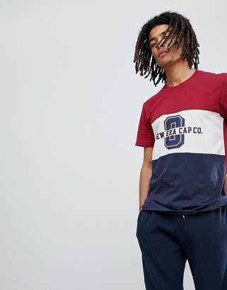 New Era T-Shirt With Panel World Logo T-Shirt In Navy