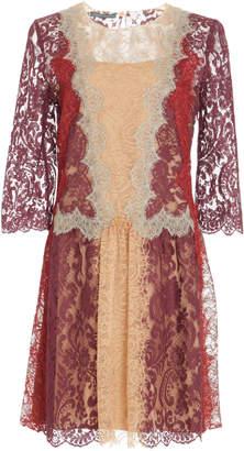 Alberta Ferretti Colorblocked Lace Dress
