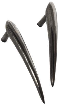 Marion Cage Ankole Stud Earrings - Black Rhodium