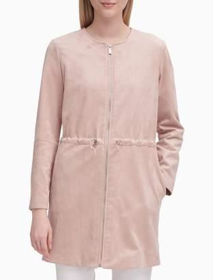 Calvin Klein Faux Suede Zip Front Long Jacket