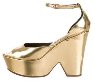 Celine Metallic Leather Platform Sandals