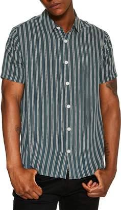 Topman Short Sleeve Stripe Slim Shirt