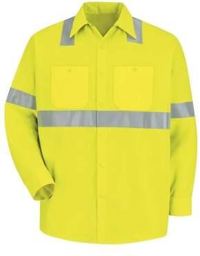 Red Kap Men's Hi-Visibility Long Sleeve Work Shirt - Class 2 Level 2