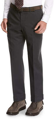 Giorgio Armani Wool Flat-Front Trousers, Gray
