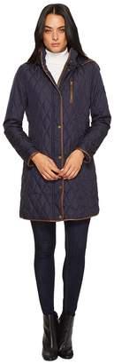 Lauren Ralph Lauren 3/4 Quilt w/ Faux Leather Women's Coat