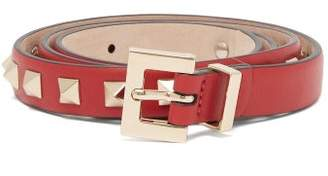 Valentino Rockstud Embellished Leather Belt - Womens - Red