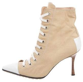 Manolo Blahnik Lace-Up Ankle Boots