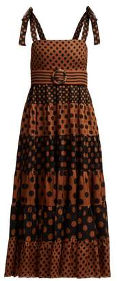 Zimmermann Juno Spotted Belted Dress - Womens - Tan Print