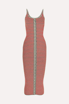 Paco Rabanne Checked Cotton-blend Dress - Red