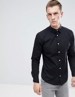 Esprit Slim Fit Cotton Poplin Shirt In Black