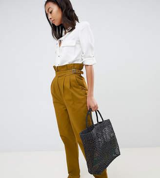 Asos Tall DESIGN Tall paper bag waist pants in mustard