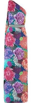 Matthew Williamson Miyazaki Mirage One-Shoulder Embellished Printed Silk Gown