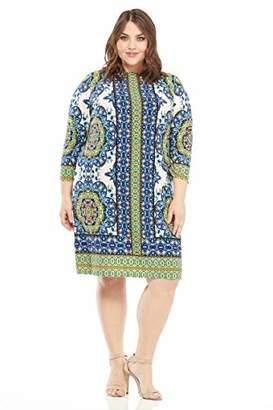 London Times Women's Plus Size 3/4 Sleeve Matte Jersey Shift Dress