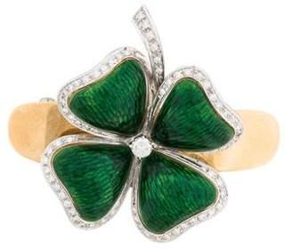 18K Diamond & Enamel Four Leaf Clover Barrette