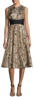 Lela Rose Juliet Metallic Tinsel Jacquard A-Line Dress