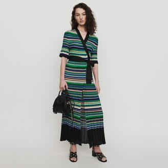 Maje Long dress in striped knit