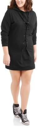 POOF Juniors' Plus Long Sleeve Corset Lace-Up Sweatshirt Dress