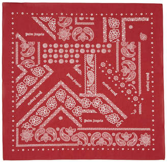 Palm Angels Red Broken Down Bandana Scarf