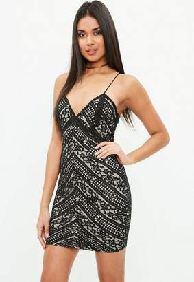 Missguided Black Lace Bodycon Mini Dress, Black