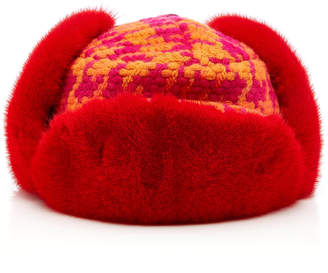 Albertus Swanepoel M'O Exclusive Marley Checked Wool And Fox Fur Hat
