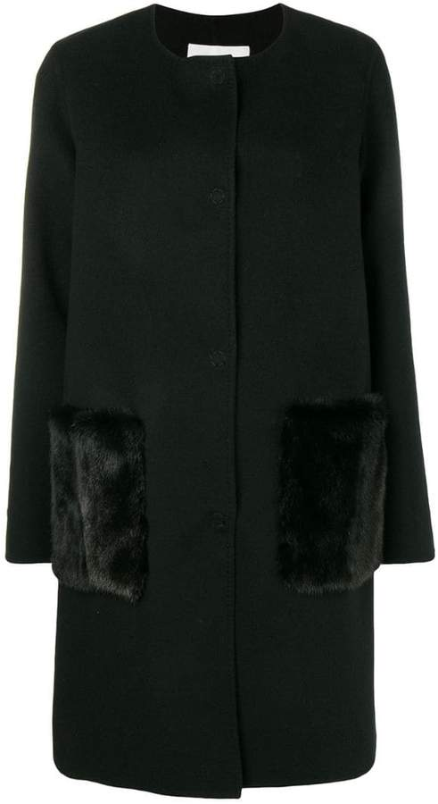 Manzoni 24 single-breasted fur detailed coat