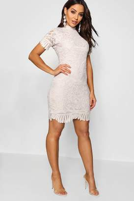 boohoo Boutique Lace High Neck Bodycon Dress