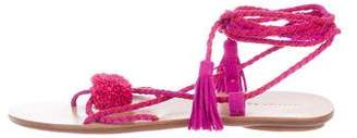 Loeffler Randall Suede Tassel and Pom-Pom Sandals