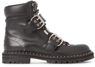 Jimmy Choo Black Breeze Flat Buckle Leather Ankle Boots