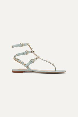 Valentino Garavani The Rockstud Leather Sandals - Sky blue