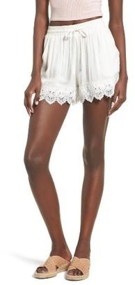 Moon River Women's Lace Hem Shorts