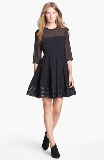 BB Dakota Illusion Yoke Faux Leather Trim Fit & Flare Dress