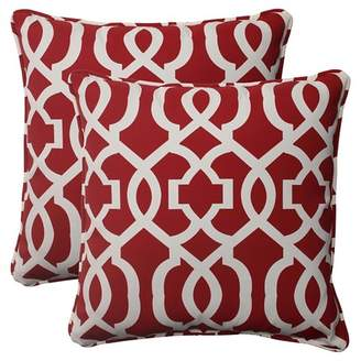 Pillow Perfect Outdoor 2-Piece Square Toss Pillow Set - Red/White Geometric