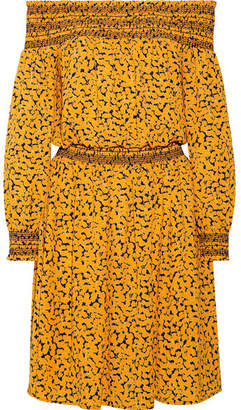 MICHAEL Michael Kors - Finley Off-the-shoulder Printed Stretch-crepe Dress - Yellow $175 thestylecure.com