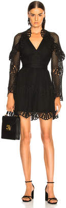 Self-Portrait Self Portrait V Neck Crochet Mini Dress