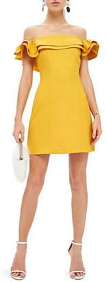 Topshop Ruffle Off-the-Shoulder Bardot Mini Dress