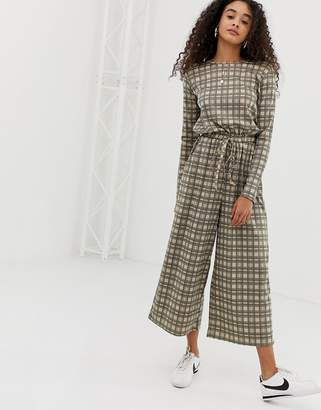 Daisy Street jumpsuit with drawstring waist in vintage check