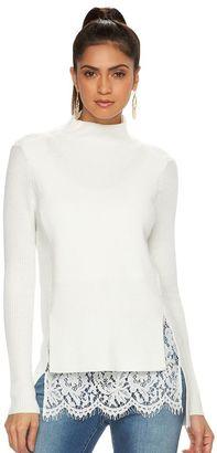Women's Jennifer Lopez Lace Mockneck Sweater $74 thestylecure.com