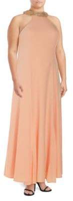 Marina Plus Embellished Crepe Floor-Length Gown