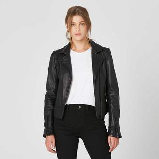 DSTLD Womens Leather Moto Jacket with Black Hardware