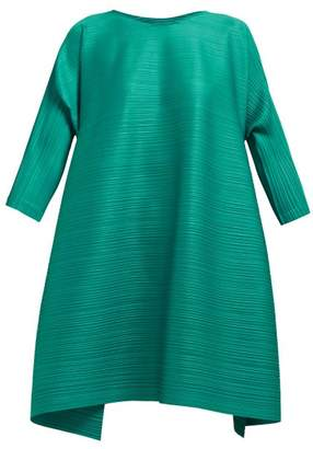 Pleats Please Issey Miyake Buttoned Side Tech Pleated Dress - Womens - Green
