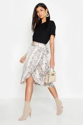 boohoo Snake Print Satin Wrap Midi Skirt