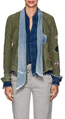 Greg Lauren Women's Patchwork Canvas & Denim Kimono Jacket - Army, Blue