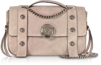 Balmain Powder Pink Leather Suede Effect BSoft 25 Flap Satchel Bag