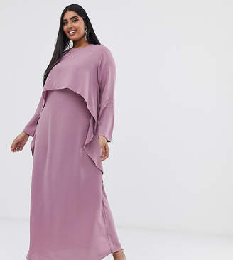 Verona Curve long sleeved layered dress in dusty rose