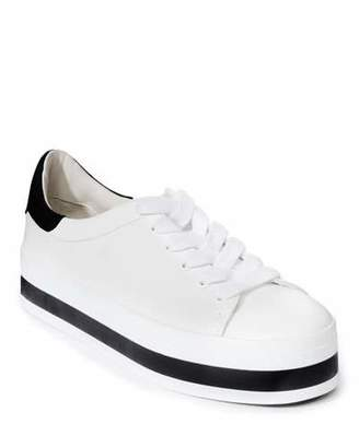 Alice + Olivia Ezra Lace-Up Platform Sneakers, White/Black