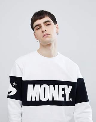 Money Block Crew Neck Jumper In White With Panel