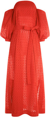 Lisa Marie Fernandez Tomato Broderie Anglaise Bubble Sleeve Dress $695 thestylecure.com