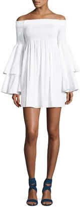 Caroline Constas Appolonia Off-the-Shoulder Poplin Dress, White