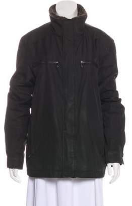 Andrew Marc Faux Fur-Trimmed Zip-Up Jacket Black Faux Fur-Trimmed Zip-Up Jacket