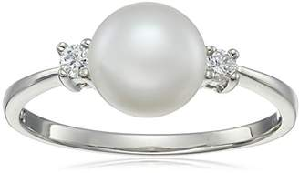 Bella Pearl and Cubic Zirconia Solitaire Ring